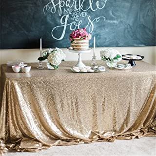 B-COOL Sequence Table Cloths Rectangle 60X102inches Matte Gold Sequin Overlay Ceremony Bridal Table Shower Decorations