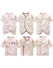 50a207cc0af77 新生児肌着 6枚組 赤ちゃん コンビ肌着 短肌着 綿100% ベビー服 長袖ロンパース