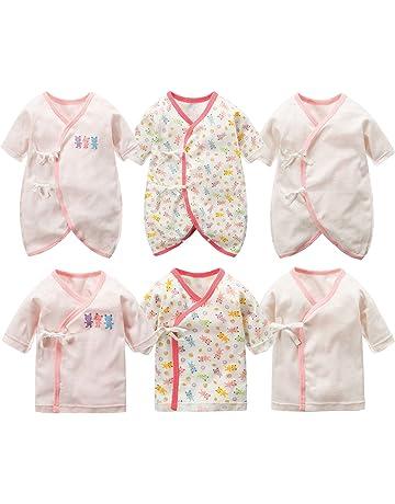 9d28558854422 新生児肌着 6枚組 赤ちゃん コンビ肌着 短肌着 綿100% ベビー服 長袖ロンパース