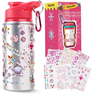 Decorate and Personalize Your Own Water Bottles for Girls with Tons of Rhinestone Glitter Gem Stickers BPA Free Kids Water...