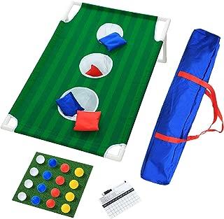 UKASE Cornhole Toss Game Set, Portable Golf Cornhole Set, Include 8 Bean Bags 16 Foam Balls Chipping Mat and Carrying Case, for Indoor Outdoor Backyard Beach Toss Games