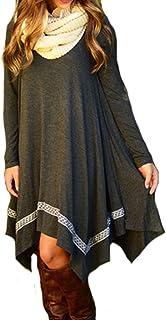 فستان خريفي للنساء بأكمام طويلة فضفاض وبحاشية غير منتظمة من Leezeshaw