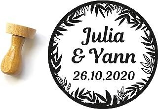 Timbro matrimonio personalizzato stile tropicale, esotico, giungla, forma rotonda 4 cm, con nomi e data