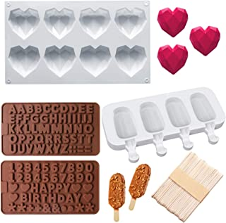 8 Cavities Diamond Heart Silicone Mold, Silicone Popsicle Molds with 50 Pcs Wooden Sticks, 2 Packs Letter Number Chocolate...