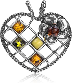 Multicolor Amber Sterling Silver Heart Pendant