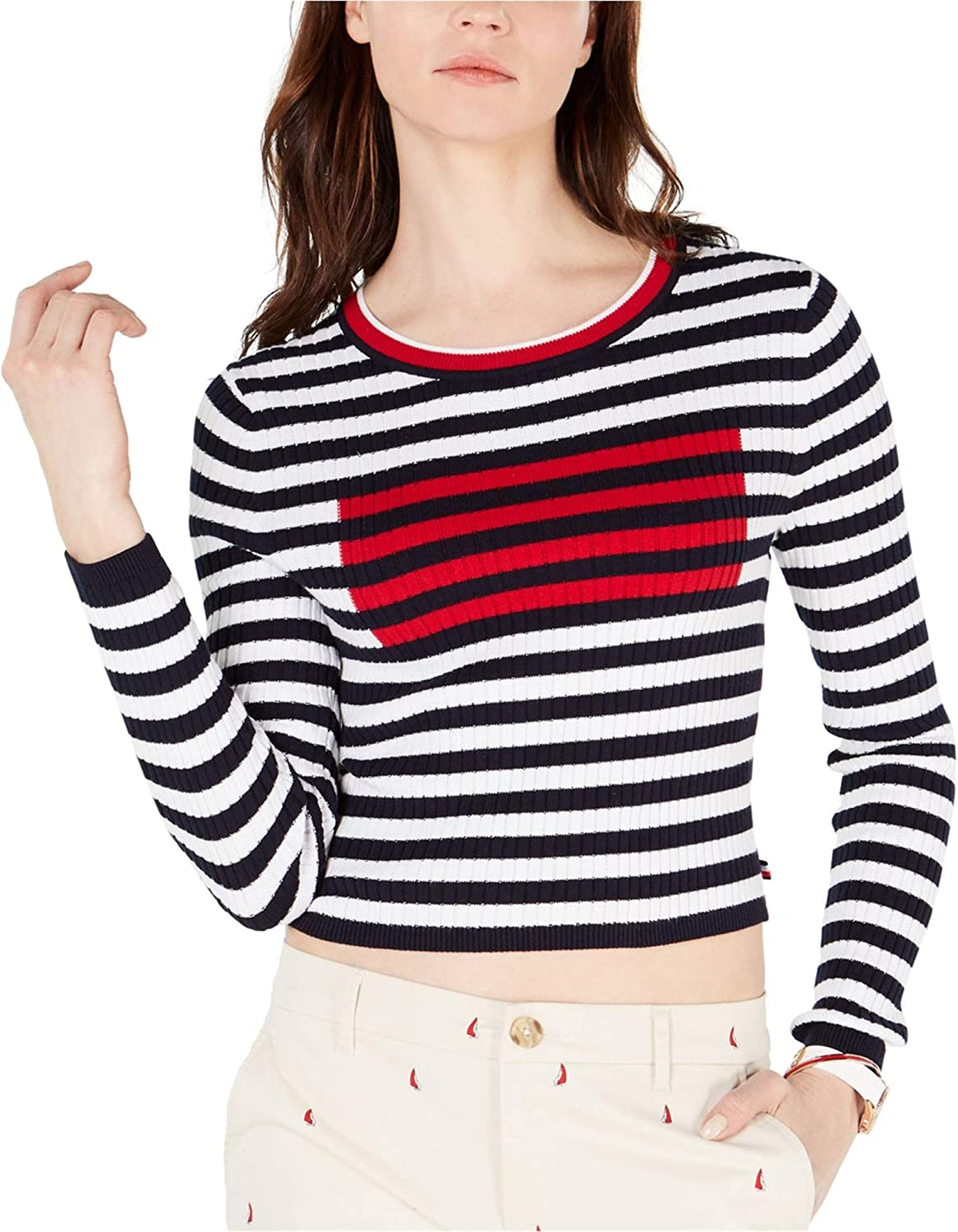 Tommy Hilfiger Womens Ribbed Flag Pullover Sweater