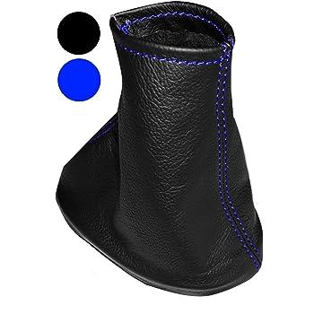 Aerzetix Schaltsack Schalthebelmanschetten Schalthebelmanschette Schaltbetatigungs Schwarze Farbe 100 Leder Nähte Blauen Auto