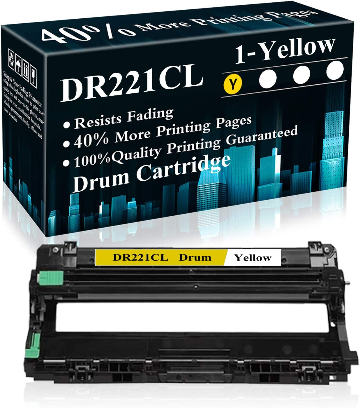 1 Yellow DR221CL Drum Unit Replacement for Brother HL-3140CW 3150CDN 3170CDW 3180CDW 9130CW 9140CDN 9330CDW 9340CDW 9015CDW 9020CDN Printer,Sold by TopInk