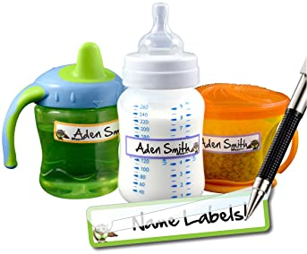 daycare bottle LIGHTNING waterproof combo set; sample mix of waterproof sippy cup and bottle labels: school camp cup supplies
