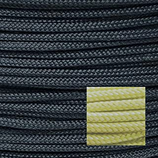 900lb 100% Dupont Kevlar Braided Line,3mm Dia, HeavyDuty Speargun Shooting Line, Cut&Abrasion Resistant (Large Model Rocket Paracord,Heat Tolerant to 900f, Survival/Tactical, high Strength/Weight)