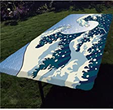 Japanese Wave Polyester Fitted Tablecloth,Far Eastern Painting Oceanic Storm Theme Tsunami Wind Water Artwork Rectangular Elastic Edge Fitted Table Cover,Fits Rectangular Tables 96x36