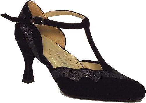 Vitiello Dance chaussures  Standard camoscio e cristal noir, Chaussons de danse pour femme Noir noir