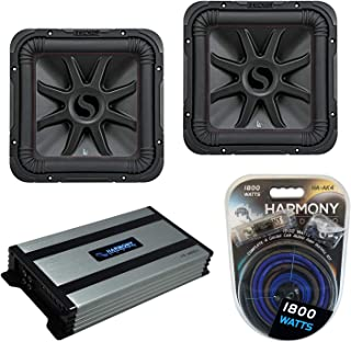 "$589 » Kicker (2) 45L7R122 Car Audio L7R Square 12"" Sub 1200W Subwoofer L7R12 Bundle with Harmony HA-A800.1 Amplifier & Amp Kit"
