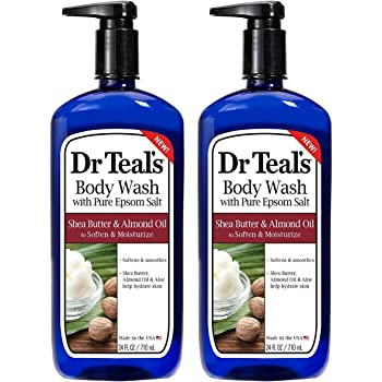 Dr Teal's Epsom Salt Bath and Shower Body Wash with Pump - Shea Butter and Almond Oil - Pack of 2, 24 Oz Each - Soften and Moisturize Your Skin, Relieve Stress and Sore Muscles