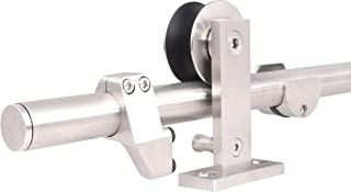 TMS 8FT European Modern Satin Stainless Steel Sliding Barn Wood Door Closet Hardware