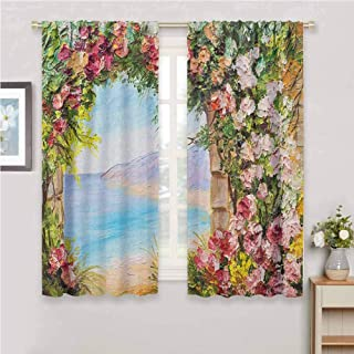GUUVOR Art All Season Insulation Old Antique Arch Covered by Rose Petals Branches Romantic Italian Panorama Sea Print Noise Reduction Curtain Panel Living Room W42 x L84 Inch Multicolor