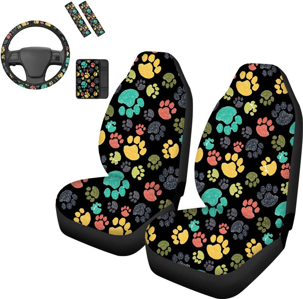 Belidome Steering Wheel Cover - Ranking Rare TOP6 Colorful Design Dog Paw Car Se