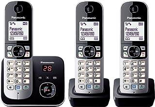 Panasonic KX TG6823GB DECT Schnurlostelefon mit Anrufbeantworter (3 Mobilteile, strahlungsarm, Eco Modus, GAP Telefon, Festnetz) schwarz