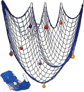 BESTYY Rete da Pesca Decorativa con Conchighie, Rete da Pesca Nautica Decorativa Stile Mediterraneo Decorativa Netto per D...