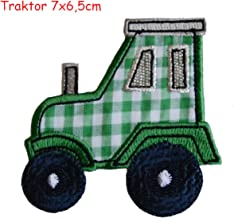 2 iron on patches Tractor 7x6,5 and Apple 6x8 - embroidered fabric appliques set by TrickyBoo Design Zurich