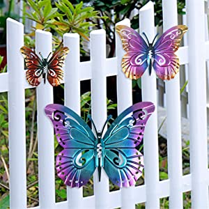 Metal Butterfly Wall Art, Colorful Wall Decor Sculpture Hanging for Indoor Outdoor for Home, Patio,Porch,Fence,Garden, 3 Pack