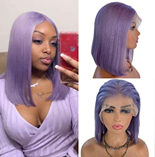 Belaved Lace Front Wigs Human Hair Short Wig Purple 8 inch 13x6 Longer Hairline Middle/Free Part Pre Plucked Lilac Glueless Straight Bob 150% Density Flat End for Women