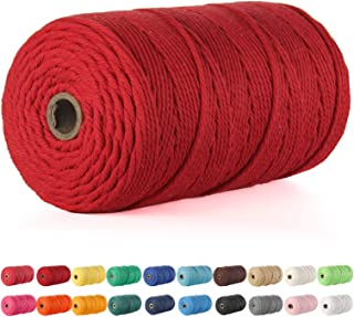 Macrame Cord, POZEAN 3mm x 220 Yards (About 200m) Cotton Rope, 100% Natural Cotton Macrame Rope for Wall Hanging, Plant Ha...