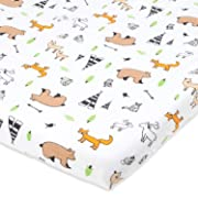 Bassinet Sheet | Stretchy Jersey Cotton Fitted Cradle Sheet 15 x 33 for Oval, Rectangle Bassinet Mattress | Sleeper Cover | Woodland Animals