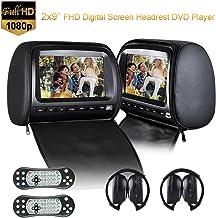 2x9inch Appui-tête Lecteur DVD de Voiture Backseat Moniteur vidéo 1080p avec DVD USB SD..