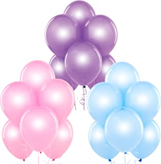 Pearl Pink, Pearl Baby Blue, Pearl Lavender 12 Inch Pearlescent Thickened Latex Balloons, Pack of 24, Pearlized Premium Helium Quality for Wedding Bridal Baby Shower Birthday Party Decorations Supply