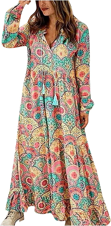 Print Long Dresses for Women Ruffle Hem Swing Maxi Dress Deep V Neck Casual Dress Long Sleeve Loose Drawstring Dress
