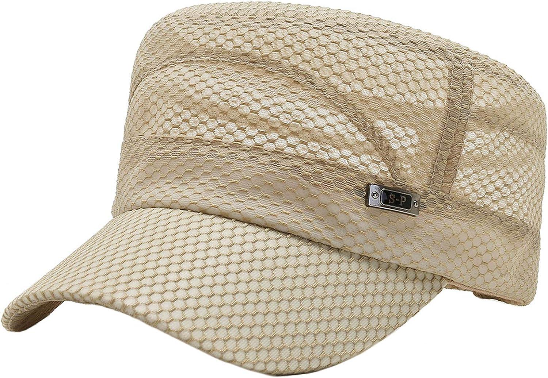Men Flat Top Cadet Army Hat Mesh Twill Military Style Cap Army Sun Protectin Cap