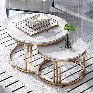 Wohnkultur Möbel Runder Nesting Beistelltisch | 2-teilige stapelbare Elegante Couchtische | Wohnzimmer Lounge Set | Gold Metallrahmen & Marmor Tischplatte Wohnzimmer