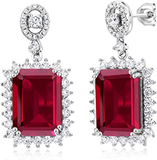 925 Sterling Silver Emerald Cut Red Created Ruby Earrings 16.60 Cttw Emerald Cut 14X10MM