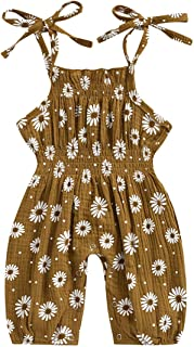 Sponsored Ad - Newborn Baby Girls Summer One-Piece Outfits Jumpsuit Sleeveless Daisy Print Playsuit Sling Backless Bodysuit