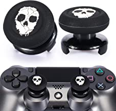 Playrealm FPS Thumbstick Extender & Printing Rubber Silicone Grip Cover 2 Sets for PS4 (Ghost)