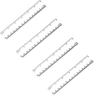Ruler 6 inches ATOOL Plastic Ruler Straight Ruler Plastic Measuring Tool for Student School Office, Clear, 4 Pack