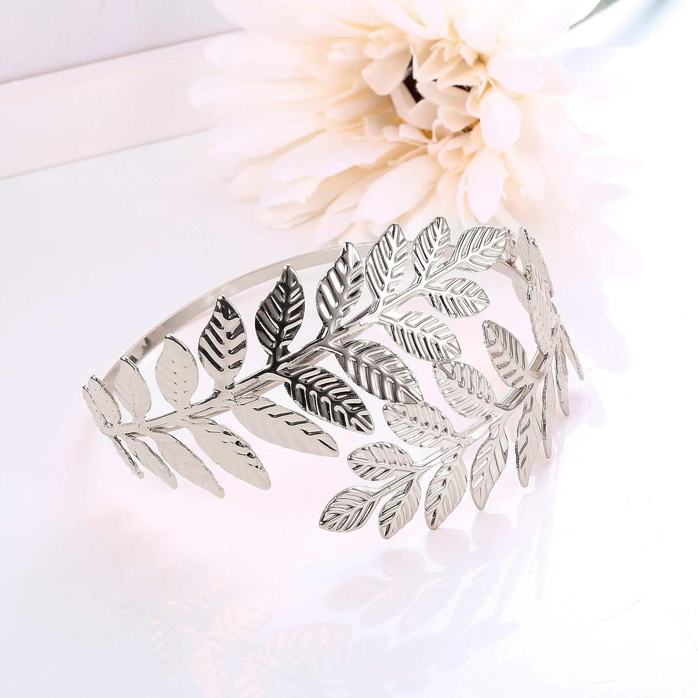 FINREZIO 3Pcs Upper Arm Bracelet Cuff Victorian Filigree Swirl Gypsy Boho Gold Plated Bangle Bracelet Open Armlet Leaf Armband Jewelry Set