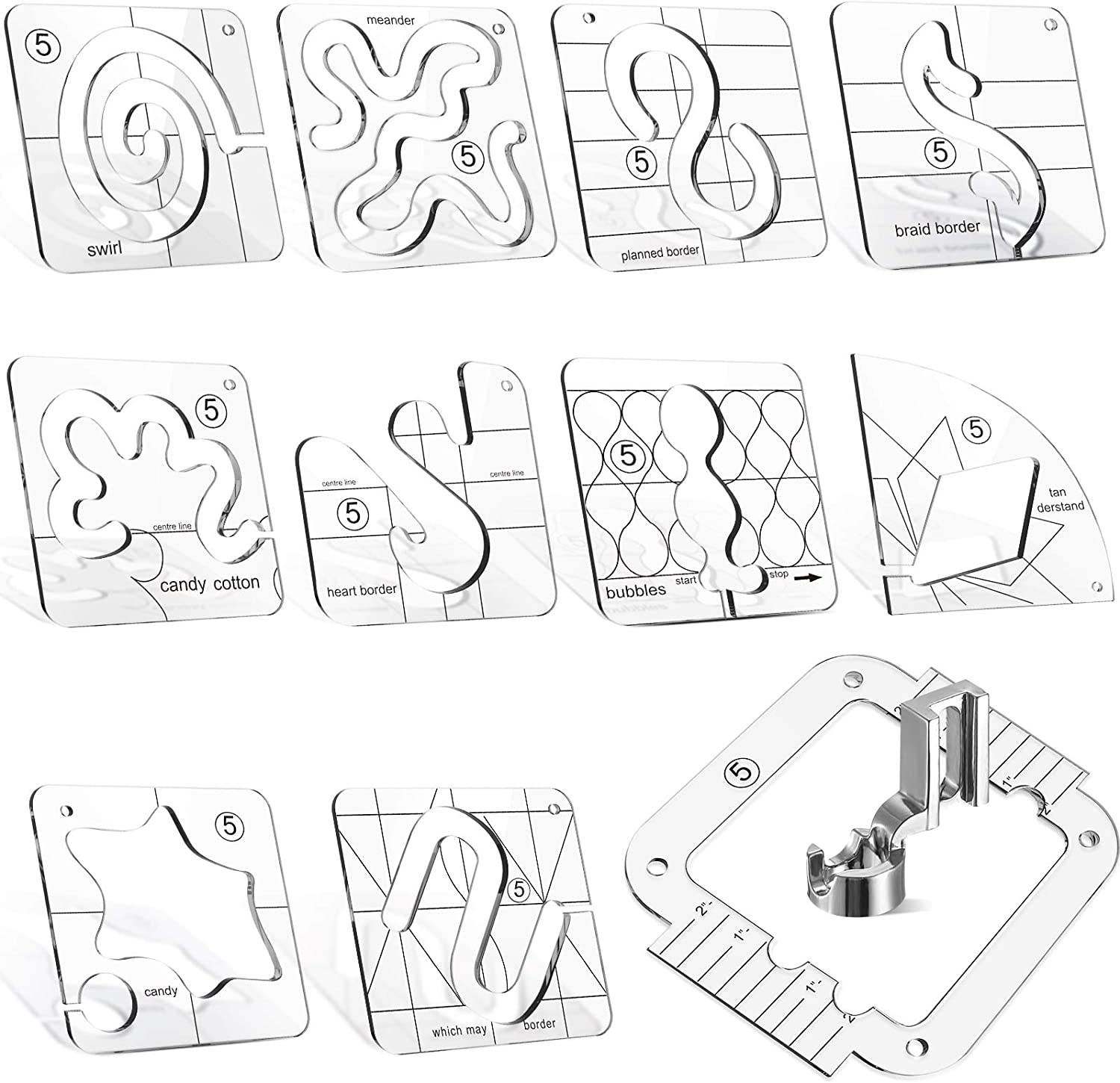 12 Pieces Max 43% OFF Free-Motion Quilting Templates Ranking TOP20 and Frame with