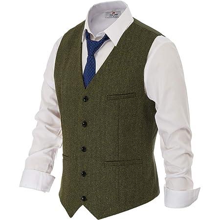 PAUL JONES Men's British Herringbone Tweed Vest Premium Wool Waistcoat, Army Green, XXXL
