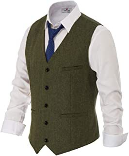 PAUL JONES Men's British Herringbone Tweed Vest Premium Wool Waistcoat - green - XXXL