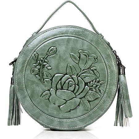 MEITRUE Runde Handtasche Damen Kreis Tasche PU Leder Elegante Frauen Crossbody Bag RetroTop Griff Schultertasche Schicke Clutch Pochette Abendtasche Mode 9584GREEN