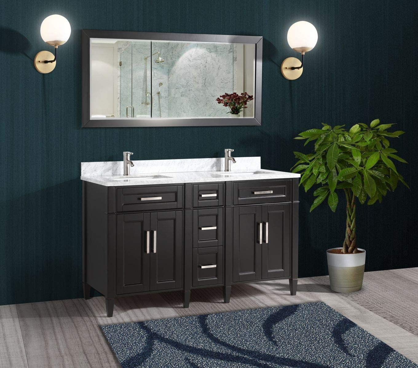 Buy Vanity Art 60 Inches Double Sink Bathroom Vanity Set Carrara Marble Stone Top Dove Tailed Drawers Soft Closing Doors Under Mount Rectangle Sink Cabinet With Free Mirror Va2060 De Online In Germany B01ipyxwts