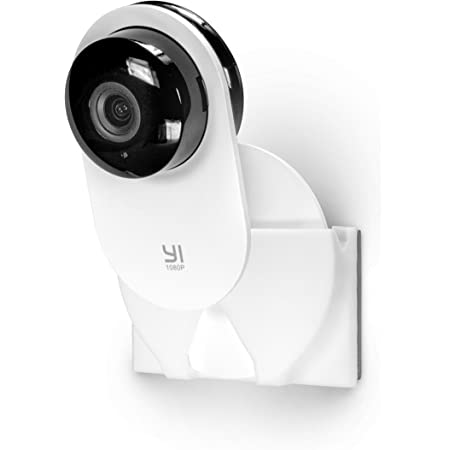 Screwless Corner Wall Mount Kit for Yi Home Camera, Watch Full Room, Crib, Kids, Cashier etc, Gives Ideal Viewing Angle, Custom Fit, Easy To Install, No Drilling, Strong Adheasive, By Brainwavz, White