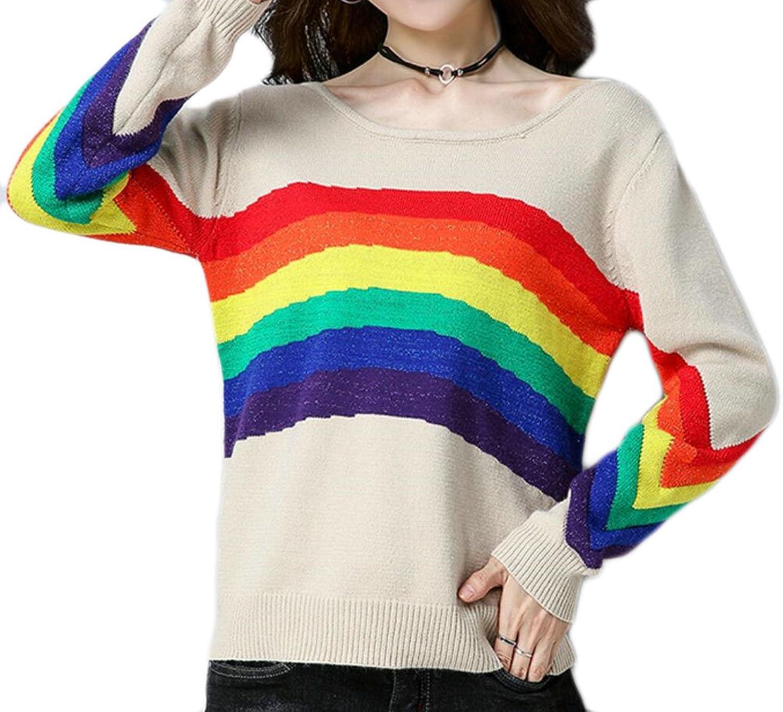 Qiangjinjiu Women's Fashion RoundNeck Bat Sleeve Stripe Sweater