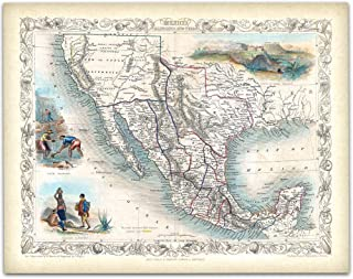 1851 Tallis Map Mexico, Texas and California - 11x14 Unframed Art Print - Makes a Great Gift to Cartographers Under $15