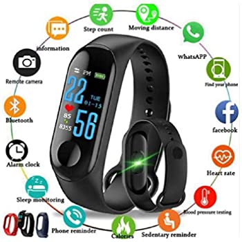 SHOPTOSHOP SM3 Smart Band Fitness Tracker Watch Heart Rate with Activity Tracker Waterproof Body Functions Like Steps Counter, Calorie Counter, Blood Pressure, Heart Rate Monitor LED Touchscreen