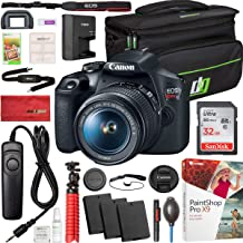 Canon T7 EOS Rebel DSLR Camera with EF-S 18-55mm f/3.5-5.6 is II Lens Bundle with 32GB Memory Card, Shutter Remote, 2X Battery, Deco Gear Camera Bag and Accessories (10 Items)