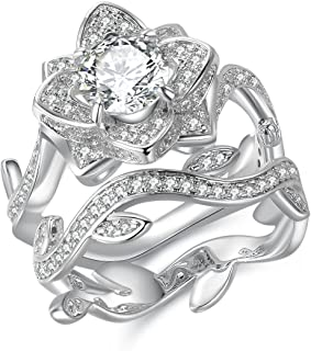 Newshe Flower Wedding Rings for Women Engagement Ring 925 Sterling Silver Round White Cz Size 5-10