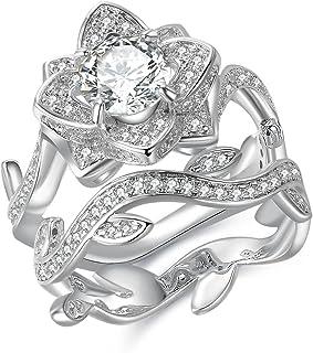 خاتم زفاف Newshe زهرة للنساء خاتم الخطوبة 925 الفضة الاسترليني جولة الأبيض تشيكوسلوفاكيا حجم 5-10